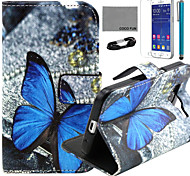 COCO FUN® Lonely Butterfly Pattern PU Leather Case with Film and USB Cable and Stylus for Samsung Galaxy Core Prime G360