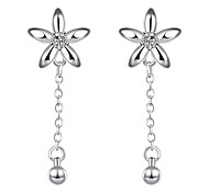 lureme®Fashion Style Silver Plated With Zircon Flowers And Small Ball Shaped Dangle Earrings