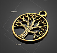 Small Tree Round Alloy Pendants*10(Gold)(10Pc)
