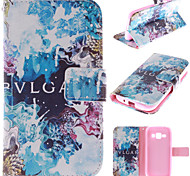Blue Beautiful Design PU Leather Stand Case with Card Slot for Samsung Galaxy J1