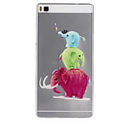 Elephant Pattern TPU Soft Case for Huawei Ascend P8