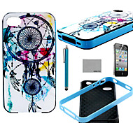 COCO FUN® Wind-Bell Pattern Soft TPU Back Case Cover with Screen Protector and Stylus for iPhone 4/4S