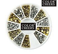 500PCS Mixs 1.5mm/2mm/3mm Hemisphere Nail Art Golden&Silver Decorations