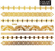 1Pc Gold and Black Long Bracelet Tattoo Sticker 15x11.5CM