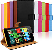 Solid color Genuine PU Leather Flip Cover Wallet Card Slot Case with Stand for Microsoft Lumia 640 XL(Assorted Colors)