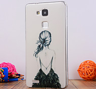 The Girl Back Design TPU Soft Case Cover for Huawei Mate 7