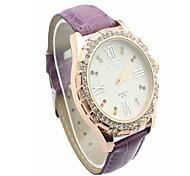 Fashion CZ Diamond Leather Watchband Wristwatch(Purple)(1Pc)