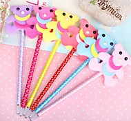Fluffy Cartoon Bear Style Gel Pen (Random Color)