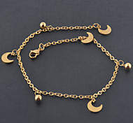 Women's Stainless Steel 18K Yellow Gold Plated Moons And Beads Charm Bracelet/Anklet Fashion Beach Foot Chains