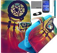 Coco fun® teste padrão de nó chinês estojo de couro pu com filme e cabo USB e caneta para G310 samsung galaxy ace estilo