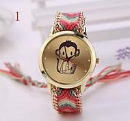 Beautiful  Women Watches Gold Wristwatch Ladies Quartz Watches Geneva Handmade Weave Braided  Monkey  Bracelet