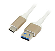 Alloy Shell USB-C USB 3.1 Type C Male Connector to Type A Male Data Cable for Chromebook & Macbook White