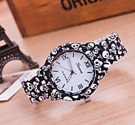 Women's New Fashion Geneva Skull Patterns Printing Bracelet Watches