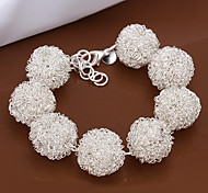 Lovely Generous Women's White Tennis Brass Silver Plated Strand Bracelet(White)(1Pc)