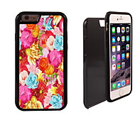 Colorful Flower Design 2 in 1 Hybrid Armor Full-Body Dual Layer Shock-Protector Slim Case for iPhone6 plus