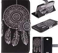 White Dreamcatcher Pattern PU Leather Full Body Case with Kickstand and Card Slot for Sony E4