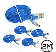 5x 2M Flat Noodle Micro USB Charger Sync Data Cable