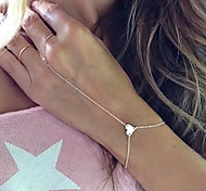 European Style Fashion Simple Elegant Heart Bracelet with Ring