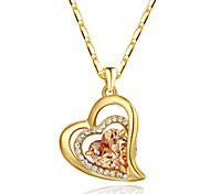 Women's Pendant Necklaces Crystal Simulated Diamond Alloy Heart Heart Orange Red Jewelry Thank You Valentine