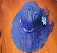 British Summer Wind Lace Bowknot Is Prevented Bask In A Big Straw Hat Sapphire Blue Purple