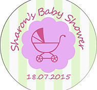 Personalized Baby Shower Product Labels / Envelope Seals Stickers Stripe Circular Pattern of Film Paper (Set of 48pcs)