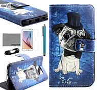 Coco fun® bonito teste padrão do cão estojo de couro pu com filme e cabo USB e caneta para Samsung Galaxy S6