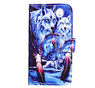 Wolf Pattern PU Leather Case with Stand for Samsung Galaxy A3