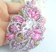 Women Accessories Silver-tone Pink Rhinestone Crystal Flower Brooch Art Deco Crystal Brooch Bouquet Women Jewelry