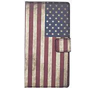 patrón de la bandera americana de la PU cuero caso de cuerpo completo con soporte y ranura para tarjeta de canto wiko 4g fab