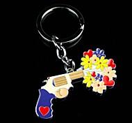 Alloy Gun Flower Lovers Key Chain