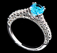 High Quality Fashion Women 10 KT White  Water Blue Square Drill Zircon Ring