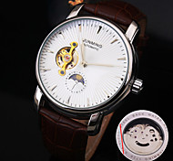Men's New Round Diamond Dial Genuine Leather Strap Waterproof Fashion Mechanical Watch  (Assorted Colors)