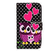 Owl Pattern PU Leather Case with Stand for Samsung Galaxy A3
