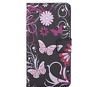 Pink Butterly Pattern PU Leather Full Body Case with Stand and Card Slot for  Huawei Ascend Y635