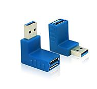 usb 3.0 tipo A macho a 90 grados ángulo vertical azul conector del adaptador de conector hembra