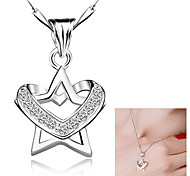 """S925 Sterling Silver Star Heart-shaped Pendant Clavicle Necklace (18""""/1PC)"""