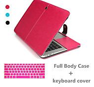 venda superior de luxo de couro cheia caso corpo e tampa do teclado para MacBook Pro de 15,4 polegadas (cores sortidas)