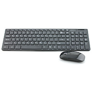 HK-06 Ultra-Thin 2.4GHz Wireless 101-Key Keyboard + 1600DPI Mouse Set - Black / White (3 x AAA)