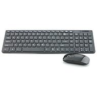 HK-06 ultra delgado de 2,4 GHz inalámbrico de 101 teclas conjunto de teclado + ratón 1600dpi - negro / blanco (3 x AAA)