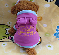 Dog Hoodie Pink Winter Letter & Number / Cartoon