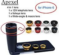 apexel 4 en 1 kit de lentille téléphoto 12x noir + objectif fisheye + grand angle + macro lentille de la caméra avec étui pour iPhone 6