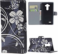 estojo de couro pu flores bela carteira com slots de stands e cartão para lg leon 4G LTE h340n