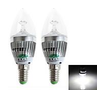 Zweihnder E14 3W 280LM 5500-6000K 3xLEDs Cool White Candle Light (AC 220-240V,2Pcs)