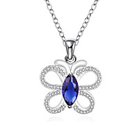 New Design Elegant 925 Sterling Silver Jewelry Butterfly with Blue Zircon Pendant Necklace for Women