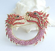 Women Accessories Gold-tone Red Pink Rhinestone Crystal Dragon Brooch Art Deco Crystal Brooch Pin