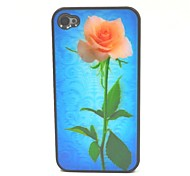 3D Styles Pink Rose Back Cover Plastic Phone Cases for iPhone 4/4S