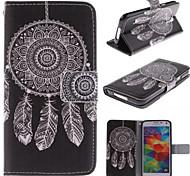 dreamcatcher padrão branca de couro pu caso de corpo inteiro com slot para cartão e stand para Samsung i9600 s5