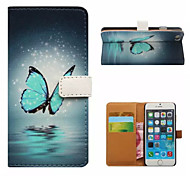 Butterfly Pattern Wallet Card PU Case With Stand for iPhone 6