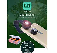 apexel Universalclip Vollbildmodus Kamera-Objektiv-Kit 180 Grad Fisheye + 20x HD-Makro-Objektiv für iPhone / iPad und andere Smartphones