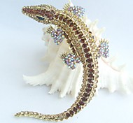 Women Accessories Gold-tone Topaz Rhinestone Crystal Alligator Crocodile Brooch Art Deco Crystal Brooch Women Jewelry